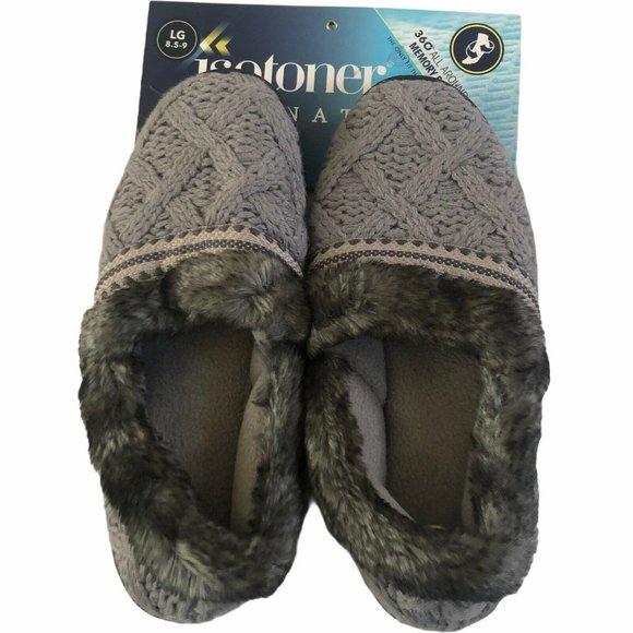 Isotoner Signature 8.5 - 9 Gray Sweater Slippers